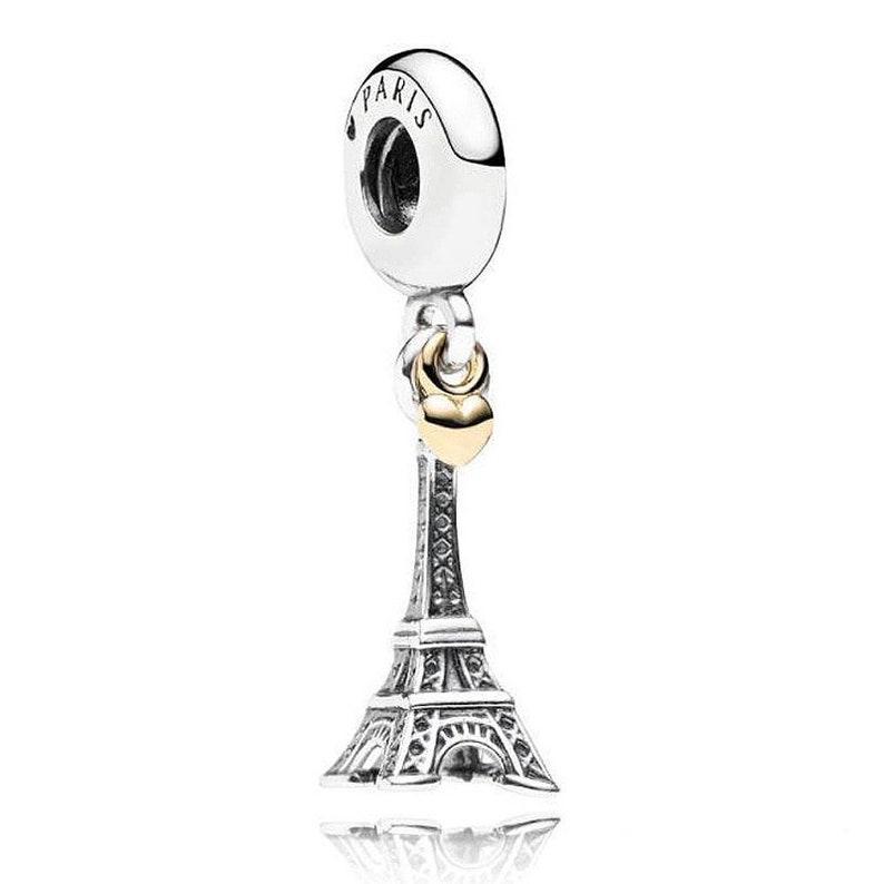 c00866047 Paris Eiffel Tower & Gold Heart Charm 100% 925 Sterling Silver | Etsy