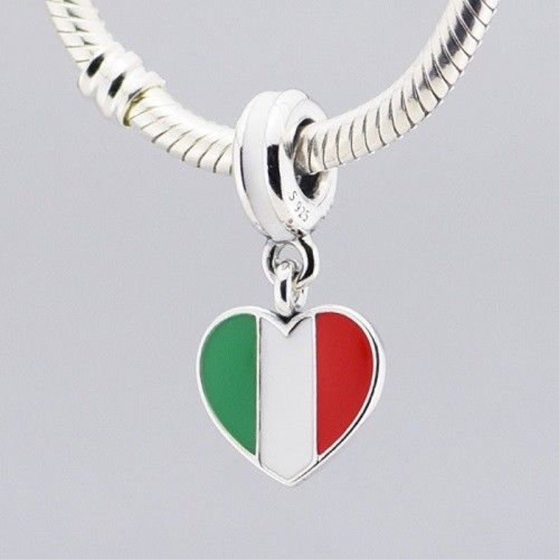 a43c7091b Italy Heart Flag Charms 925 Sterling Silver Pandora | Etsy
