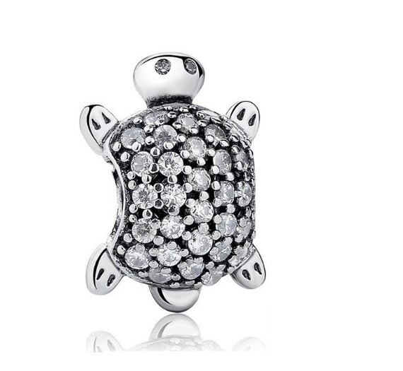 Golden Tortoise Sea Turtle 925 Sterling Silver Bead Fit European Brand Charms