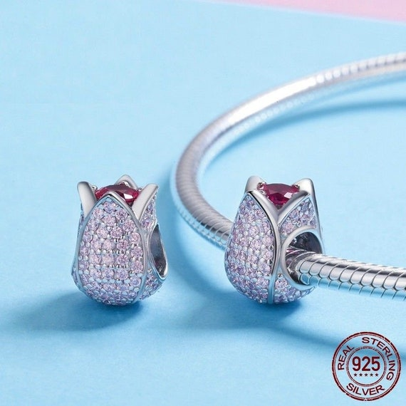 100/% Genuine 925 Sterling Silver Exquisite Pink Tulip Flower Crystal Charms Fit Charm Bracelet Bangle Jewelry