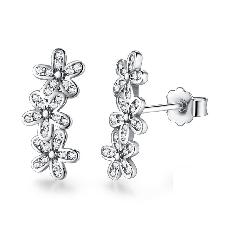 9131719ce Dazzling Daisy Cluster Stud Earrings Sterling Silver 925 | Etsy