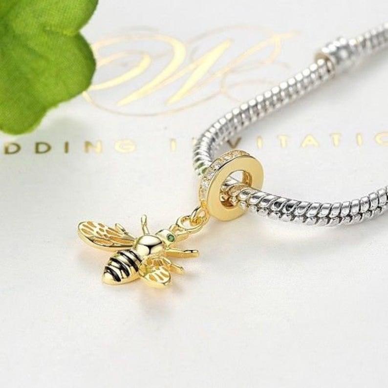 3471b9e22 New Gold Honey Bee Charm 100% 925 Sterling Silver Pandora   Etsy