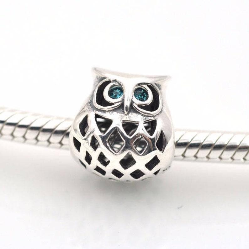 Black White Gray Enamel Owl Bird Dangle Bead for Silver European Charm Bracelets