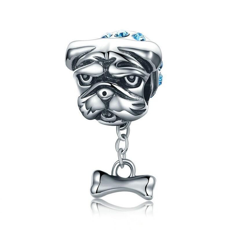 b1837da535d34 Cute Bulldog Dog Beads Doggy Blue CZ fit Bracelet & Necklaces 100%  Authentic 925 Sterling Silver Charms Fits European Pandora Charm Bracelet