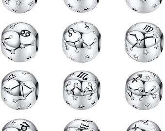 Vintage 925 Sterling Silver Aquarius Star Sign Zodiac Beads Charms fit Bracelets DIY Twelve Constellations