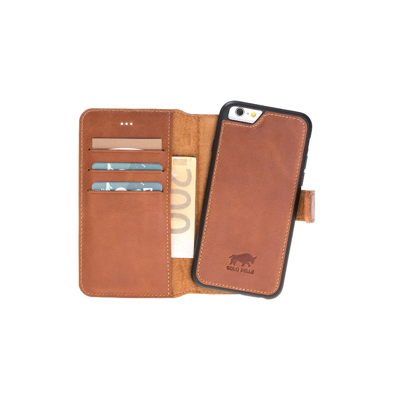 premium selection fba7b ea367 Solo Pelle iPhone 6 Wallet Case, Detachable 2 in 1 Case With Card Slots,  iPhone 6s Case, Personalized iPhone wallet, Brown case for iPhone 6