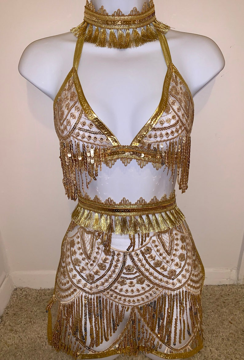 442fb20e84 The zhala set 3 gold lace sequin fringe moroccan ethnic