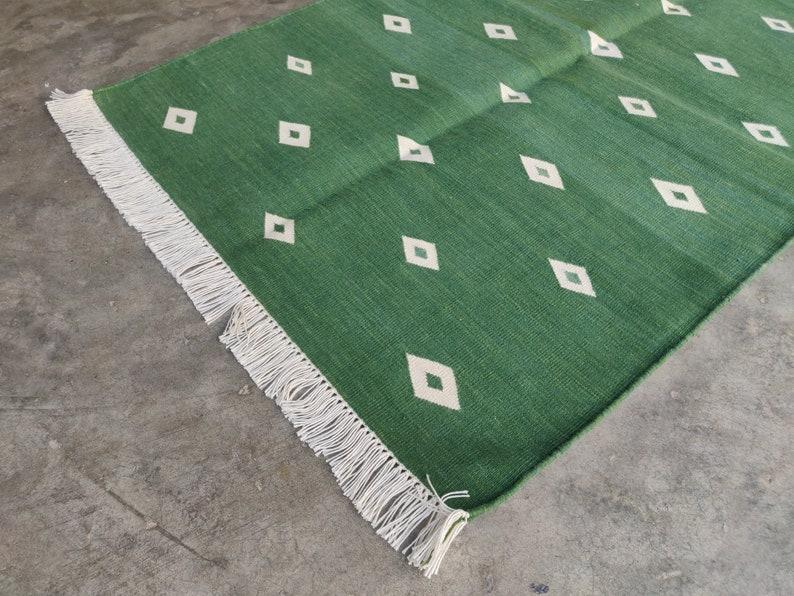 Cotton Home Decor Living Room Rug Rags Flat Weave 2.5/'x4/' Handmade Handwoven Vegetable Dyed Green Diamond Striped Yoga Rug Reversible Kilim