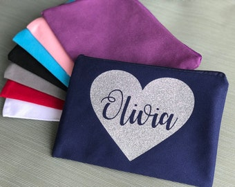 Reusable Bag with Heart and Name | Pencil Case | Diaper Bag | Valentines Day Gift Bag | Storage on the go