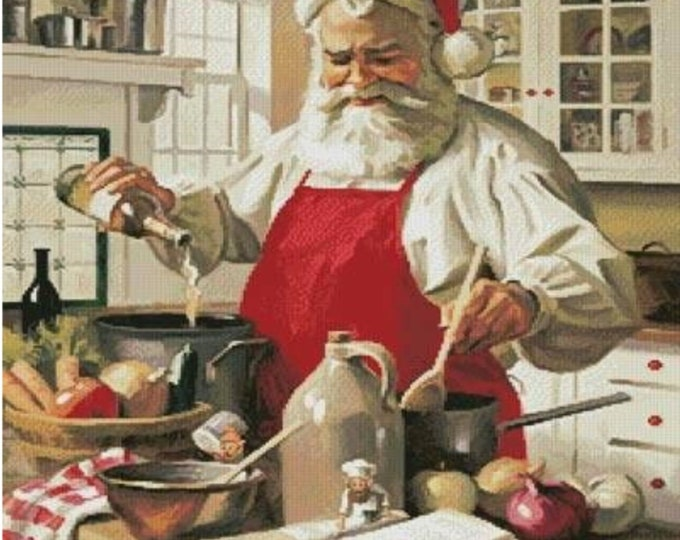 Santa Cooking, Santa in the Kitchen, Christmas Home Decor, Picture for our frames, One Frame endless possibilities, Magnetic Home Decor