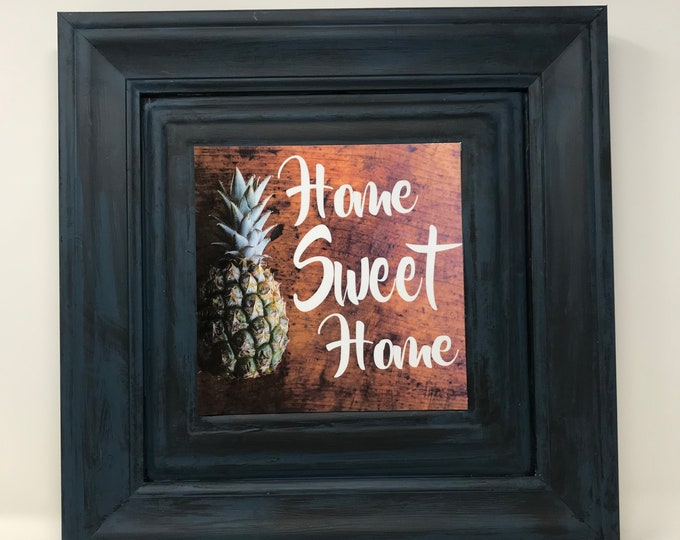 Featured listing image: Pineapple, Accent Wall, Farmhouse, One Frame endless possibilities, Embossed metal with wood Frame, A new twist on Home Decor, Board Signs
