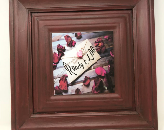 Featured listing image: Personalized Gift, Farmhouse, Southern Decor, One Frame endless possibilities, Embossed Red Frame, A new twist on Home Decor, Board Signs
