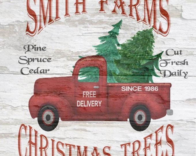 Custom Christmas Tree Farm, Your Name Farms, Vintage Truck, Personalized Pictures, Simple Southern Decor, Magnetic Picture an Framing System