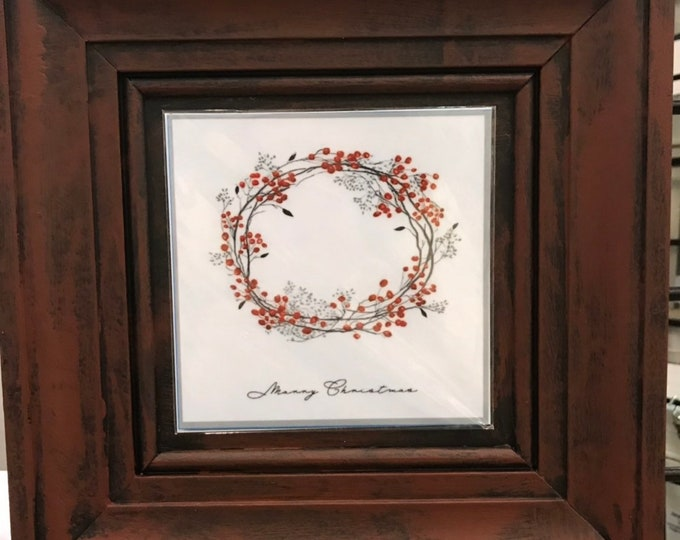 Christmas Berry Wreath, Berry WreathChristmas Home Decor, Picture for our frames, One Frame endless possibilities, Magnetic Art Decor