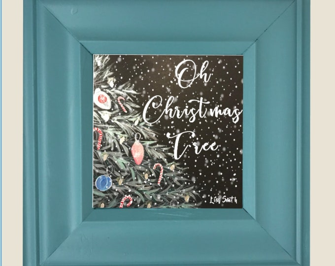 Accent Wall, Farmhouse, Board Signs, Oh Christmas Tree Picture with the frame, One Frame endless possibilities, New twist on Home Decor