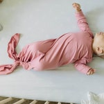 Dusty Pink Baby Gown - knotted knit gown, knotted sleeper, baby gown, baby sleeper