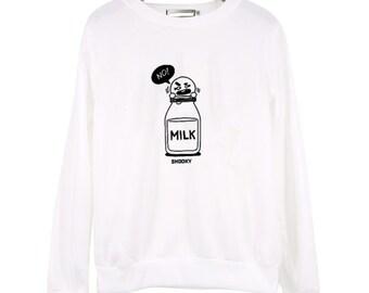 a3be651e Cartoon milk letters sweatshirt unisex men women sweatshirt winter cloth  sweatshirt gift