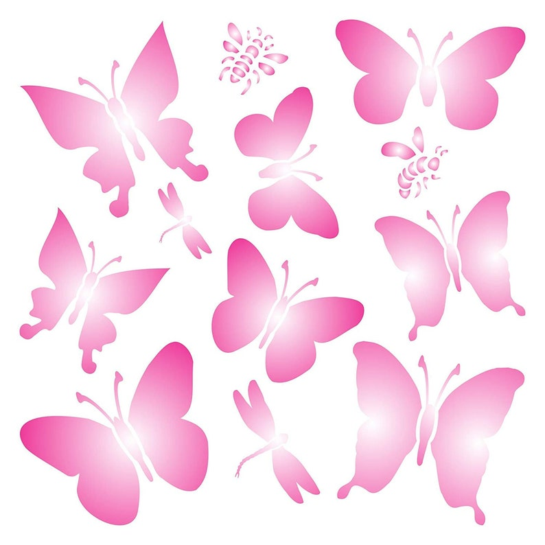 Fabrics Butterflies Stencil size 9w x 9h Reusable Stencils for Painting Best Quality Scrapbooking Valentines Ideas Use on Walls Floors