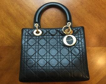 da10a1d1630d Christian Dior Lady Dior Medium Black Lambskin Vintage Cannage