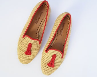 04c483bd809 Raffia shoes handmade loafer summer raphia shoes Moroccan shoes High end  raphia flats
