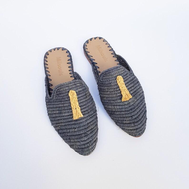 ad20b0c99755 Raffia shoes handmade slippers grey summer mules Moroccan