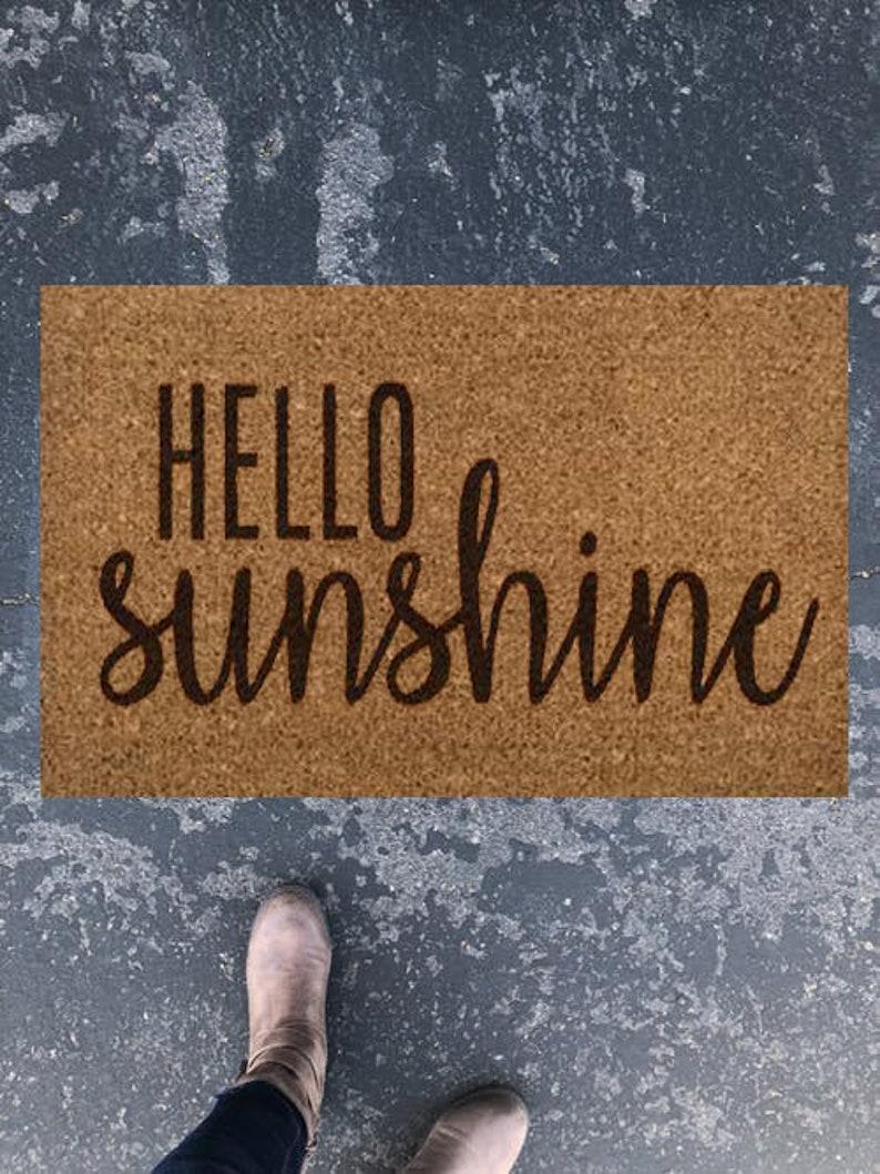 Hello Sunshine Doormat Cute Welcome Mat Outdoor Rug Spring Decor Wife Gift Anniversary Gift Farmhouse Decor