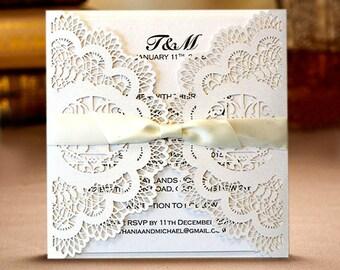 White Wedding Invitation Card Laser Cut Vintage with Envelope Ribbon Wedding Decoration