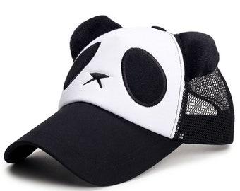 Panda Cartoon Baseball Hat Adjustable Shadow Mesh Cotton Golf Snap-back Adult/Kids Caps