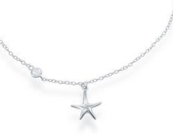 Starfish Anklet, Clear Cz