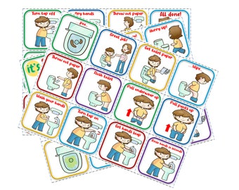 Bathroom Routine Visual Picture Communication Cards Toilet Training Autism Special Needs Digital Download English Español