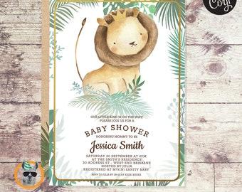 Cute Watercolor Lion Baby Shower   Editable Digital File