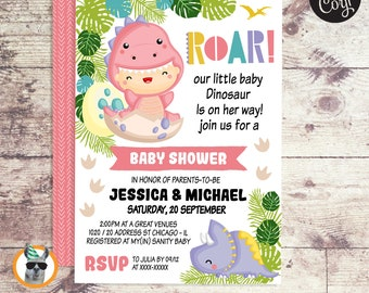 Dinosaur Baby Shower Girl Invitation   Editable Digital File