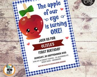 The Apple of Our Eye Boy Birthday Invitation   Editable Digital File