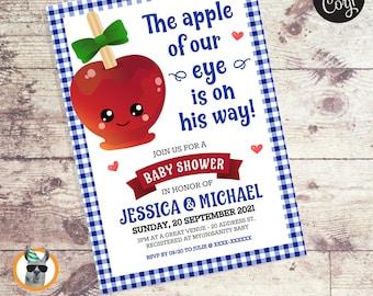 The Apple of Our Eye Boy Baby Shower Invitation   Editable Digital File