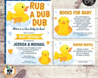 Gender Neutral Rubber Duck Baby Shower Invitation, Baby Shower and Diaper Raffle | Editable Digital Files