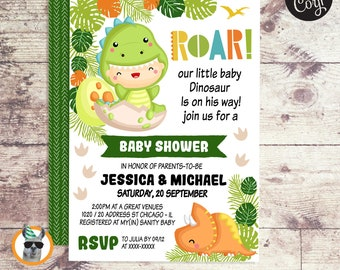 Dinosaur Baby Shower Invitation   Editable Digital File