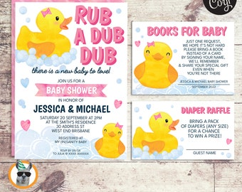 Girl Rubber Duck Baby Shower Invitation, Baby Shower and Diaper Raffle | Editable Digital Files