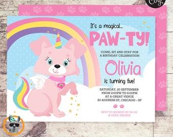 Cute Unicorn Puppy Birthday Party Invitation     Editable Digital File