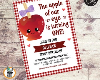 The Apple of Our Eye Girl Birthday Invitation   Editable Digital File