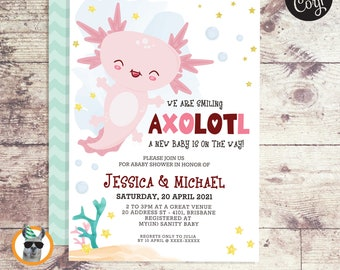 Axolotl Baby Shower Invitation   Editable Digital File