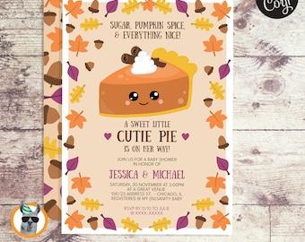 Pumpkin Cutie Pie Baby Shower Invitation   Editable Digital File
