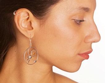 Hoop Earrings. Shell Earrings. Mother pearl earrings. Minimalist earrings. Contemporary Earrings. Contemporary Jewelry