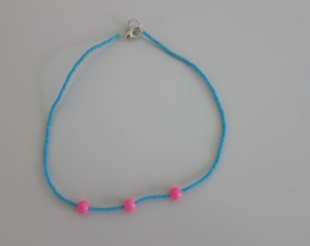 blue and pink beaded choker