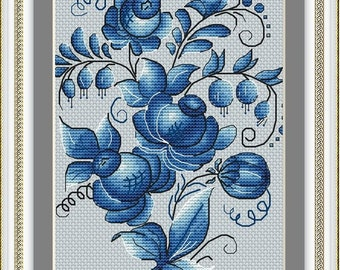 Summer Landscape in Gzhel Style Russia Handmade CROSS-STITCH CompletedFinished with Mat and Frame.