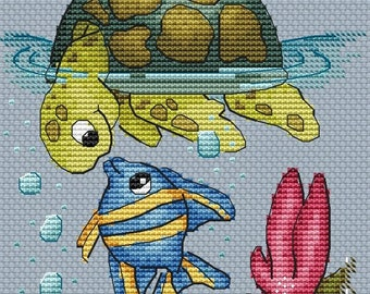 Cross Stitch Pattern PDF Instant Download Embroidery Cute Wall Decor Nursery Cross Stitch Cross Stitch turtle fish sea sampler