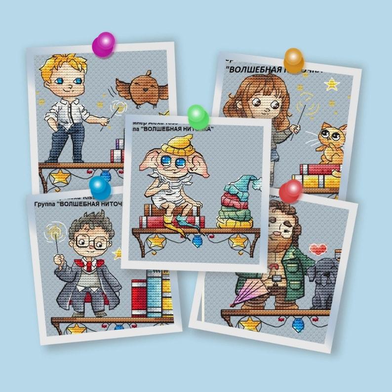 mini set shelf Magic Cross Stitch pattern PDF the books DMC image 0