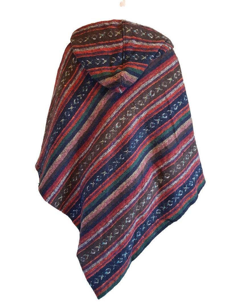 Red Black and Orange Tie dye poncho