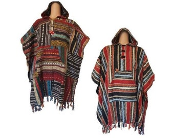 Long Square poncho: Patchwork and Red striped