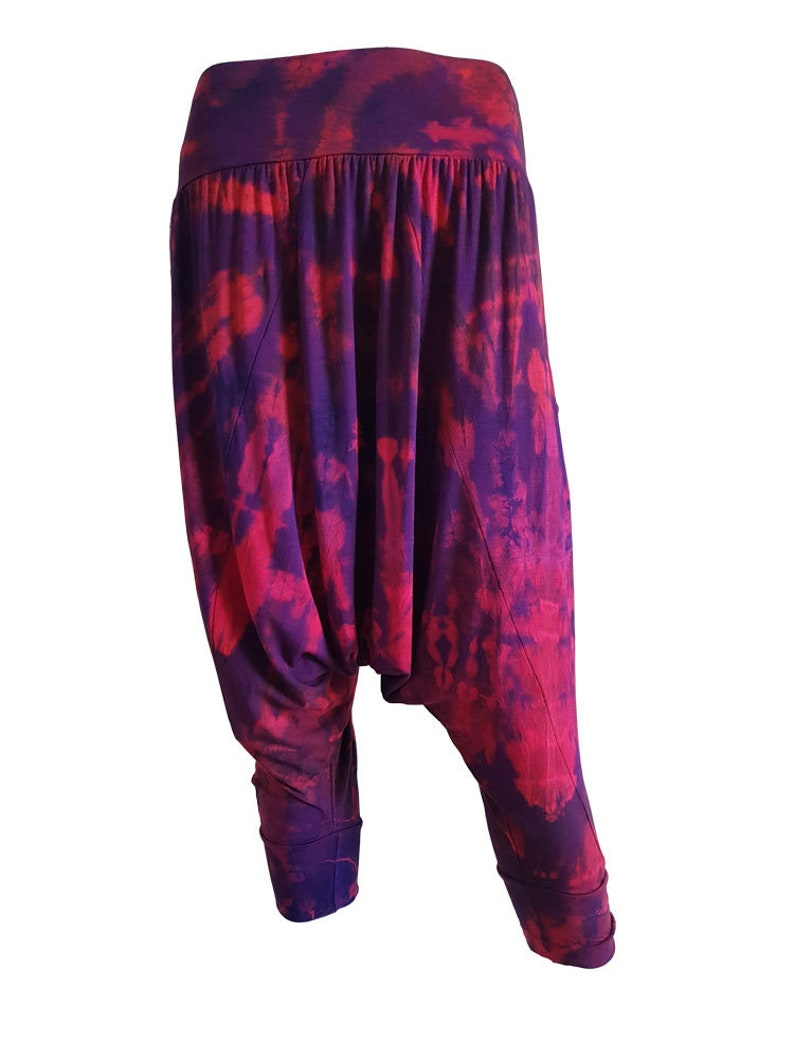 Black and Purple Tie Dye Harem Trousers