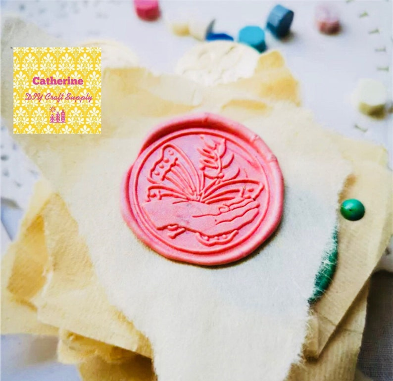 wedding wax seals party wax seals catching Butterfly wax seal stamp with wooden handle Butterfly wax seal stamp